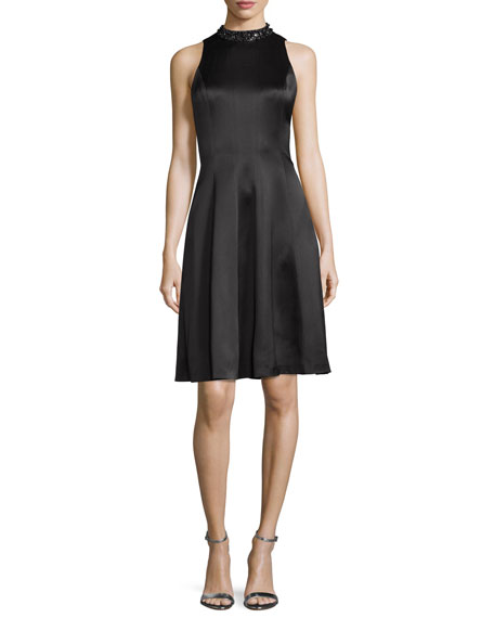 Kay Unger New York Embellished-Neck Fit-&-Flare Dress, Black