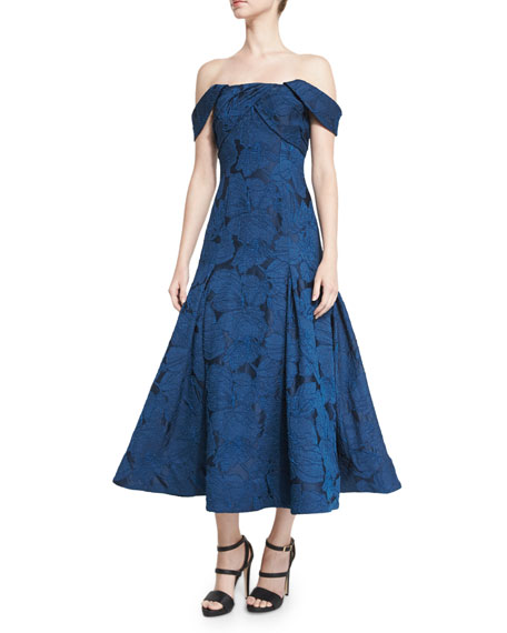 ML Monique Lhuillier Off-the-Shoulder Leaf Jacquard Midi Dress,