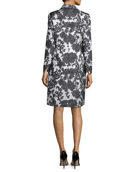 Sleeveless Floral Jacquard Dress w/ Jacket, Black/Creme