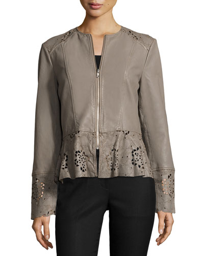 Laser-Cut Fit-&-Flare Lambskin Leather Jacket, Taupe Best Reviews