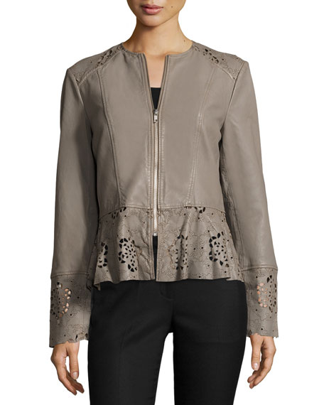 Laser-Cut Fit-&-Flare Lambskin Leather Jacket, Taupe Top Reviews