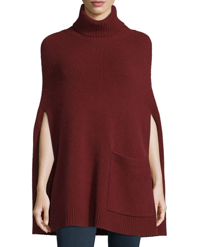 Ribbed Cashmere Turtleneck Cape, Oxblood