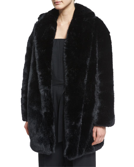 Black Faux Fur Coat | Neiman Marcus