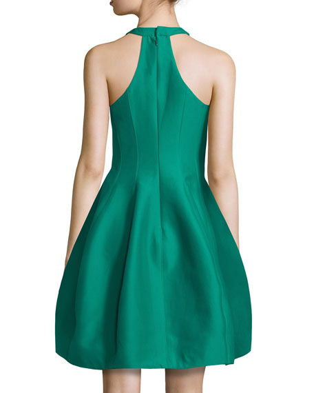 Sleeveless Structured Faille Tulip Dress, Emerald