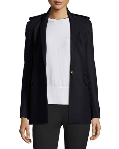 Ashton Single-Button Stretch Blazer, Salute