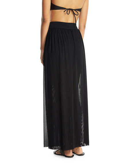 Aspire Layered Mesh Maxi Coverup Skirt, Black