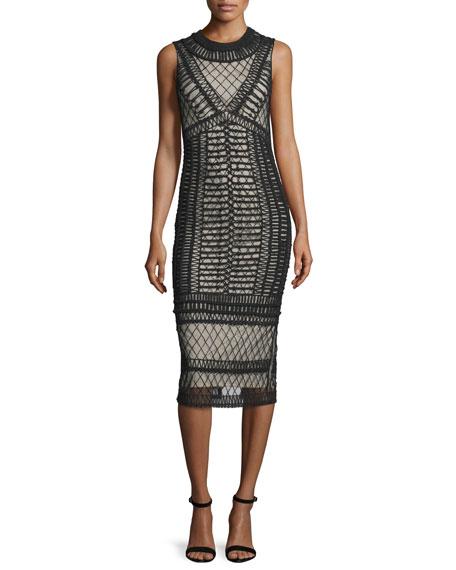 Alice Olivia Nat Crocheted Sleeveless Midi Dress