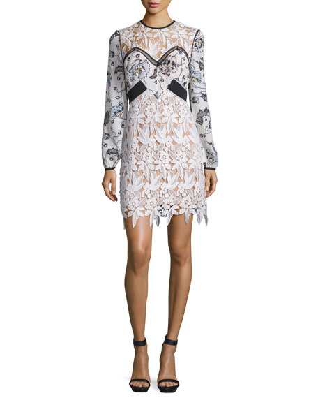 Swallow Floral Guipure Lace Long-Sleeve Mini Dress