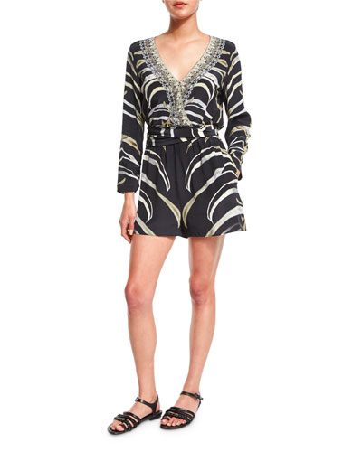 Embellished Wrap-Front Long-Sleeve Playsuit, Zebra Crossing