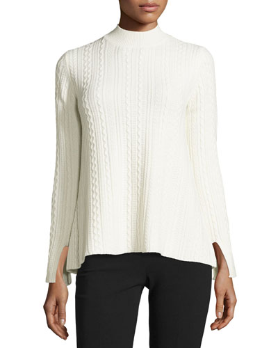 Friselle Cable-Knit Vented Sweater, Ivory