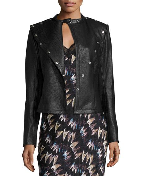 Warrior Asymmetric Leather Jacket, Black