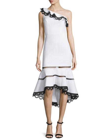 Alexis Christie One-Shoulder Ruffle Dress, White