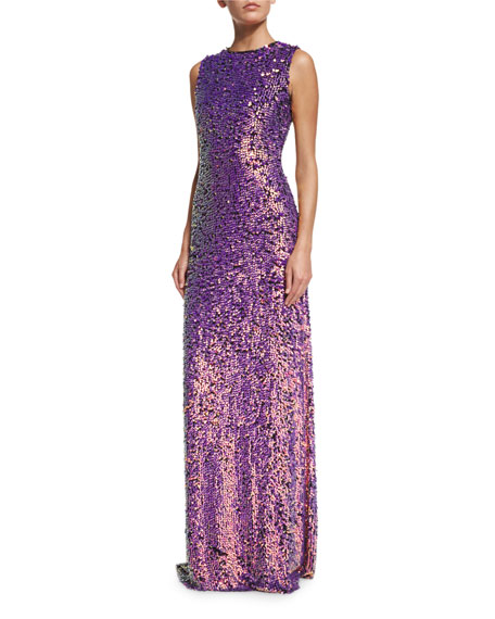 Iridescent Beaded Sleeveless Gown, Black/Multi