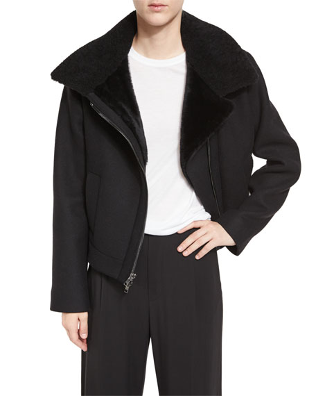 Shearling Fur-Lined Moto Jacket, Black