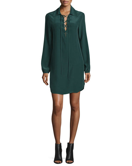 FRAME Lace-Up Silk Shirtdress, Spruce