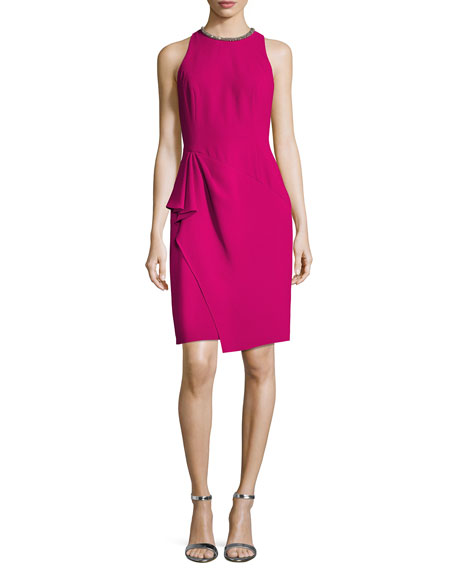 Carmen Marc Valvo Sleeveless Ruffle-Trim Sheath Dress, Fuchsia
