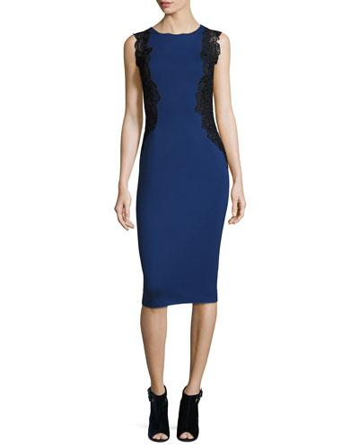 Cailyn Seamed Sheath Dress w/ Zip Hem, Midnight