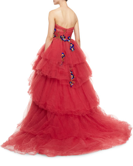 Strapless Embellished Tiered Tulle Ball Gown, Cherry