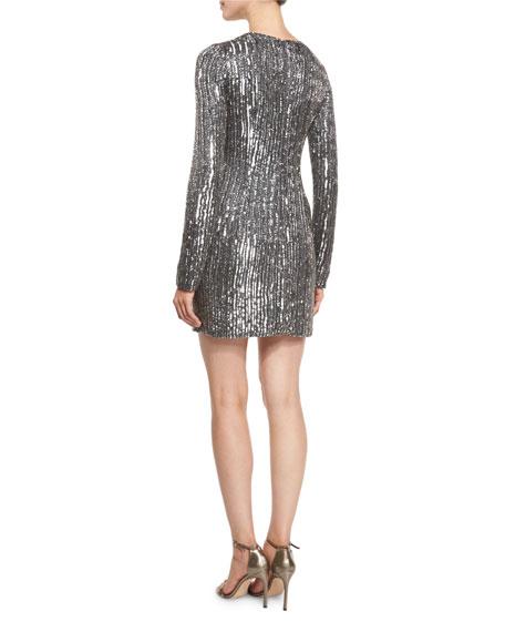 Sequined Long-Sleeve Mini Dress, Noir