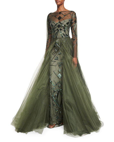 Geometric-Beaded Long-Sleeve Cape Gown, Forest Green