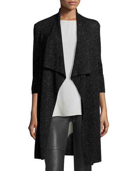 Eileen Fisher Merino Shimmer Cardigan, Black