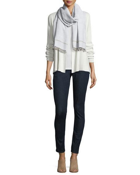 Eileen Fisher Hand-Loomed Organic Cotton Twill Scarf W/Fringe,