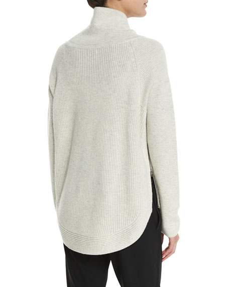 Side-Zip Ribbed Turtleneck Sweater