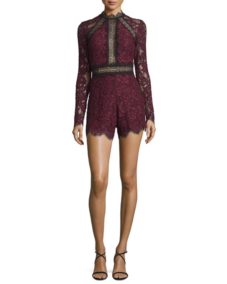 Eva Long-Sleeve Lace Romper, Plum