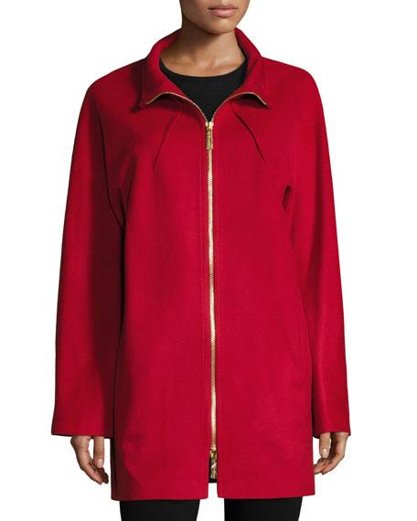 Two-Way Zip-Front Wool Jacket