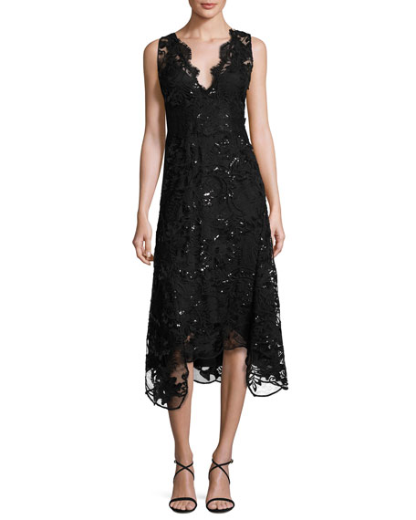 Sleeveless Embellished Lace Midi Dress, Black