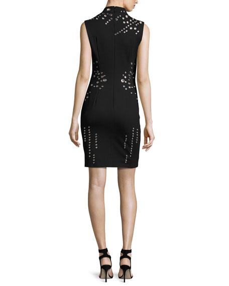 Sleeveless Mock-Neck Shift Dress w/ Grommets, Black