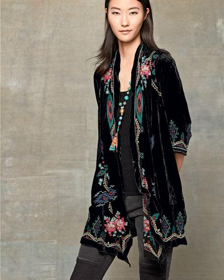 Aveza Draped Velvet Coat, Plus Size