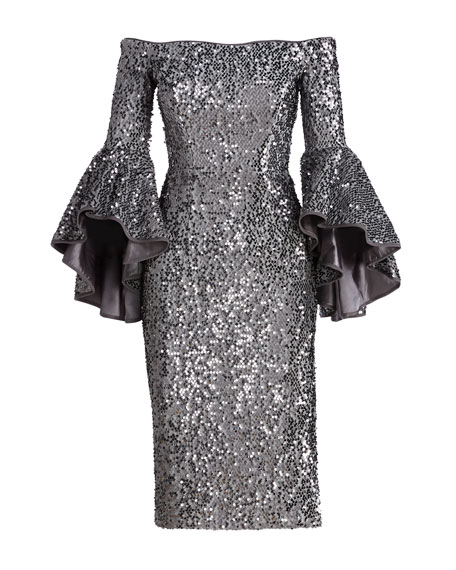 Off-the-Shoulder Sequined Cocktail Dress, Gunmetal