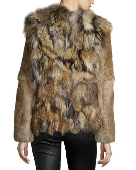 Boxy Rabbit & Fox Fur Jacket