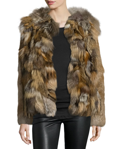 Belle Fare Boxy Rabbit & Fox Fur Jacket