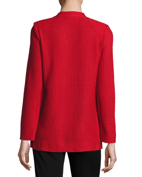 Misook Petite Textured Straight-Cut Knit Jacket