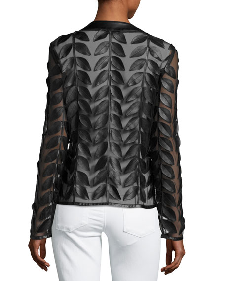 Image 3 of 4: Neiman Marcus Leather Collection Leather Leaf-Trimmed Sheer Organza Jacket, Black
