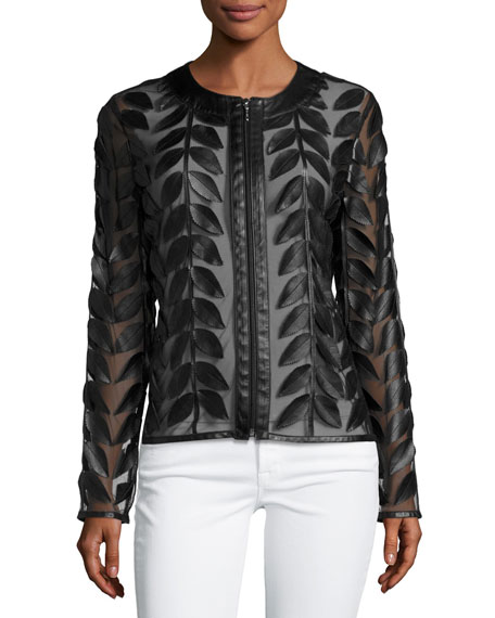 Image 4 of 4: Neiman Marcus Leather Collection Leather Leaf-Trimmed Sheer Organza Jacket, Black