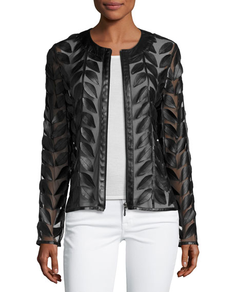 Image 1 of 4: Neiman Marcus Leather Collection Leather Leaf-Trimmed Sheer Organza Jacket, Black