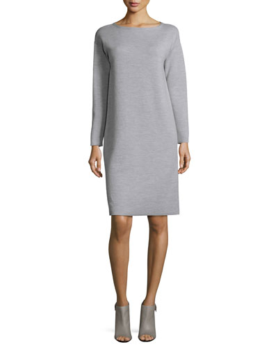 Scoop-Neck Merino Wool Dress