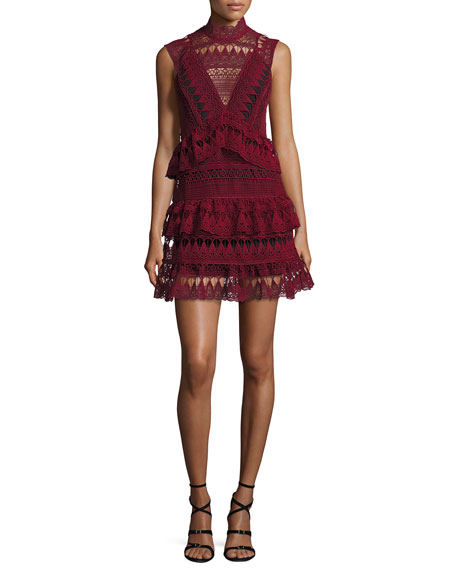 Sleeveless Tiered Lace Mini Dress, Burgundy