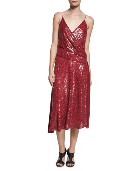 Diane von Furstenberg Brenndah Sequin Surplice-Front Dress,