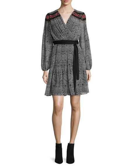 Bianka Long-Sleeve Wrap Dress, Cabriole Dot