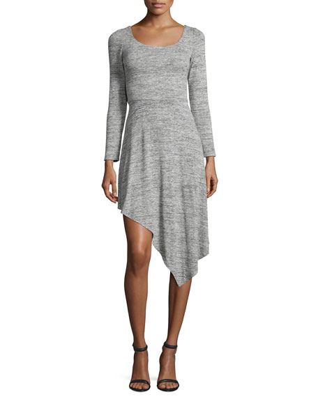 Alice + Olivia Geneva Long-Sleeve Asymmetric-Hem Dress, Gray