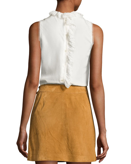 Sleeveless Pintucked Silk Peplum Blouse, Soft White