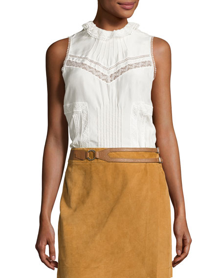 Derek Lam 10 Crosby Sleeveless Pintucked Silk Peplum