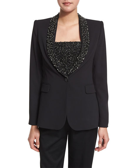 Alice + Olivia Macey Embellished Strong-Shoulder Blazer, Black