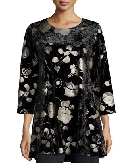 Caroline Rose 3/4-Sleeve Panne Velvet Tunic W/ Shimmer,