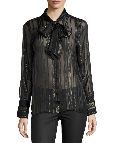 Leema Lace-Trim Tie-Neck Blouse, Black