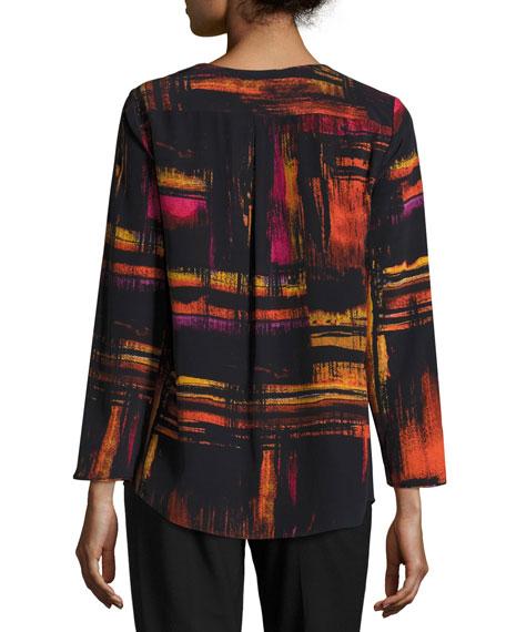 Samantha 3/4-Sleeve Abstract-Print Silk Blouse, Black Multi